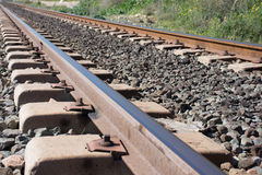 Background. Railway linen. Rails and sleepers. Royalty Free Stock Photo