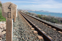 Background. Railway linen. Rails and sleepers. Stock Photos