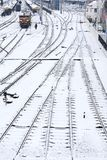 Background of railway lines in winter Royalty Free Stock Photo