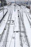 Background of railway lines in winter Stock Image