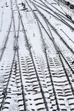Background of railway lines in winter Royalty Free Stock Photography