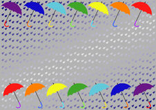 A background with  rain and colorful umbrellas Stock Photos