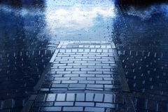 Background in rain and road. With reflection sky royalty free stock images