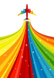 Background with rainbow airplane Stock Photography