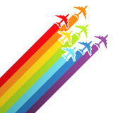 Background with rainbow airplanes vector illustration