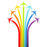 Background with rainbow airplanes. Vector illustration stock illustration