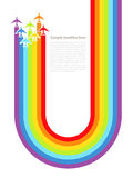 Background with rainbow airplanes Stock Image