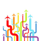Background with rainbow airplanes. Vector illustration royalty free illustration