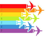 Background with rainbow airplanes. Vector illustration Royalty Free Stock Photo