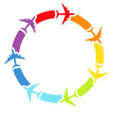 Background with rainbow airplanes Stock Images