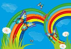 Background with rainbow and butterflies. Composition of the rainbow, butterflies and flowers vector illustration