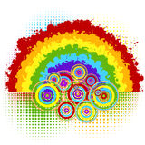 Background with rainbow and circles Royalty Free Stock Image