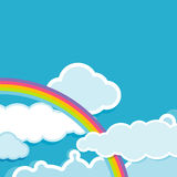 Background with rainbow and clouds Stock Photography