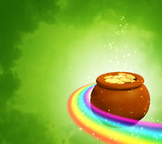 Background with rainbow and pot Stock Image