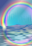 Background with rainbow reflecting in the sea. Glowing rainbow reflected in waves Stock Photos