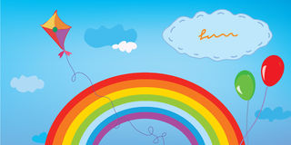 Background with rainbow, sky, kite and balloons Royalty Free Stock Photos