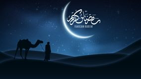 Background for Ramadan Kareem. Night landscape. Arabic calligraphy. Muslim Religion Holy Month. Arab stands with a camel in the de. Sert. The starry sky. Light vector illustration