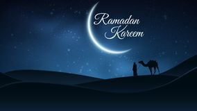 Background for Ramadan Kareem. Night landscape. Muslim Religion Holy Month. Arab stands with a camel in the desert. The starry sky. Bright moon. Vector stock illustration