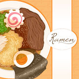 Background with ramen. Background with dish prepared with ramen with place for text Stock Image