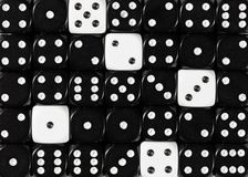 Background of random ordered black dices with five white cubes. Pattern background of random ordered black dices with five white cubes stock images