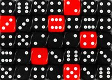 Background of random ordered black dices with six red cubes. Pattern background of random ordered black dices with six red cubes stock images
