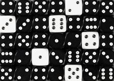 Background of random ordered black dices with six white cubes. Pattern background of random ordered black dices with sixwhite cubes royalty free stock photography