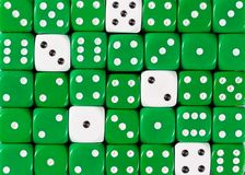 Background of random ordered green dices with five white cubes. Pattern background of random ordered green dices with five white cubes royalty free stock photography