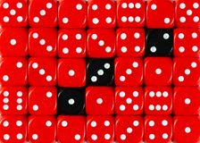 Background of random ordered red dices with three black cubes. Pattern background of random ordered red dices with three black cubes royalty free stock photography