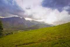 In the background a range of mountains, and in the foreground grass. In the background a range of mountains, and in the foreground green grass Stock Photos