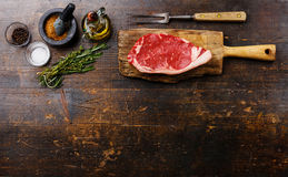 Background with Raw meat Steak and ingredients Royalty Free Stock Photography