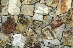 Background of raw natural stone, for the facade of the house in gray and brown shades. Color background of raw natural stone, for the facade of the house in gray stock images