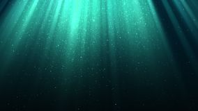 Background with rays of light, divine radiance, sparkles, falling snow, night blue shining sky, seamless loop. Background with rays of light, divine radiance stock video footage