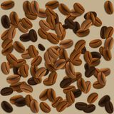 Background with realistic coffee beans. Royalty Free Stock Photography