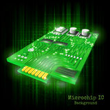 Background with realistic 3d microchip on black green shining Stock Image