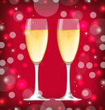 Background with Realistic Glasses of Champagne Royalty Free Stock Images