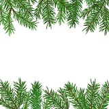 Background with realistic green fir tree branch. Christmas, New Year symbol. Art vector illustration Royalty Free Stock Photos