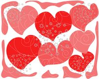 Background red abstract hearts with gray stars royalty free illustration