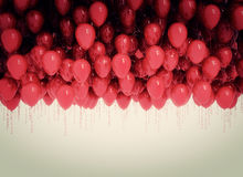 Background of red balloons. Retro look Stock Image