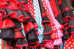 Background of red and black flamenco dresses in Seville Stock Photography