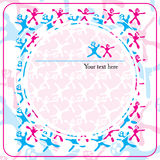 Background with red and blue feminine and masculine signs and circles with frame Stock Photo
