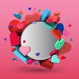 Background of red and blue hearts, on the day of St. Valentine and March 8 - 3d vector eps10.  Royalty Free Stock Image