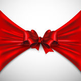 Background with red bow. And fabric Stock Image