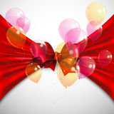 Background with red bow and flying transparent balloons. Background with red bow, fabric and flying transparent balloons Royalty Free Stock Image