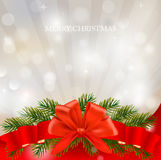 Background with red bow and ribbons. Vector Royalty Free Stock Photography