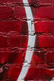 Background of red brick with curved white stripe Royalty Free Stock Photography