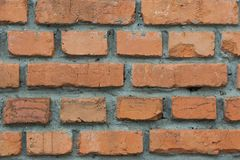 Background from the red brick laid with cement mortar close up. Background from the red brick laid by ranks with cement mortar close up Royalty Free Stock Image