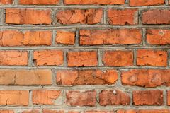 Background, red brick, masonry, gray cement seams royalty free stock images