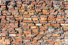Background of red brick wall pattern texture. Royalty Free Stock Image