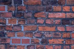 Background of red brick wall pattern texture. Great for graffiti inscriptions. royalty free stock photos