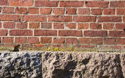 Background red brick wall stone house foundations Royalty Free Stock Image